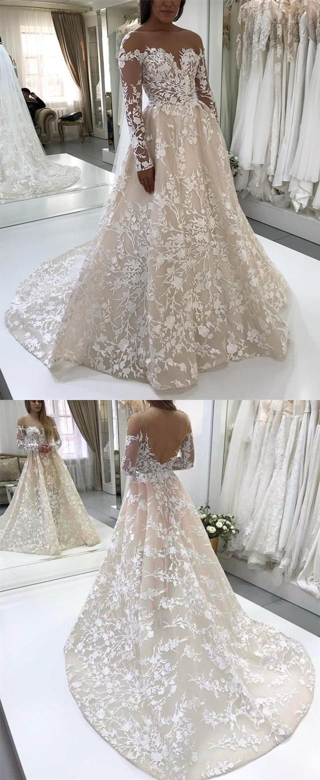 Wedding dresses with lace sleeves off the shoulder  ALine Illusion Bateau Long Sleeves Backless Ivory Lace Wedding