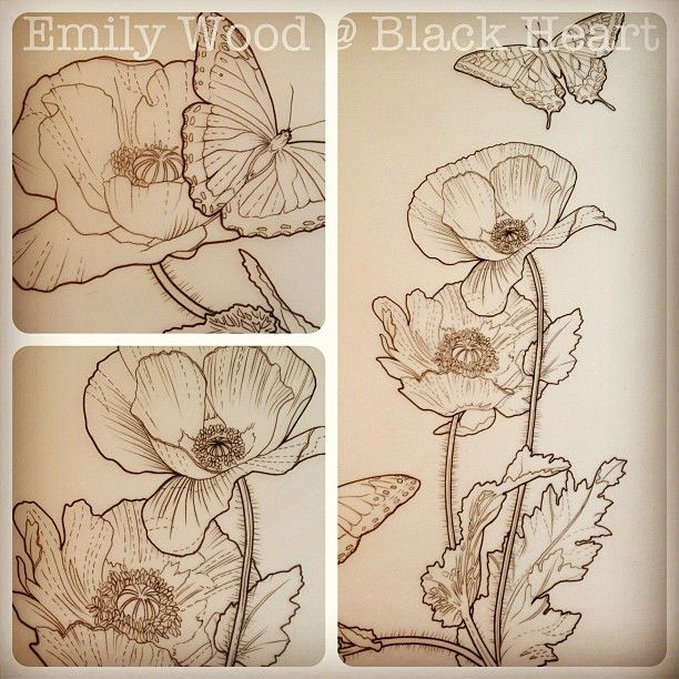Poppy Line Drawing Tattoo : E a f adf g