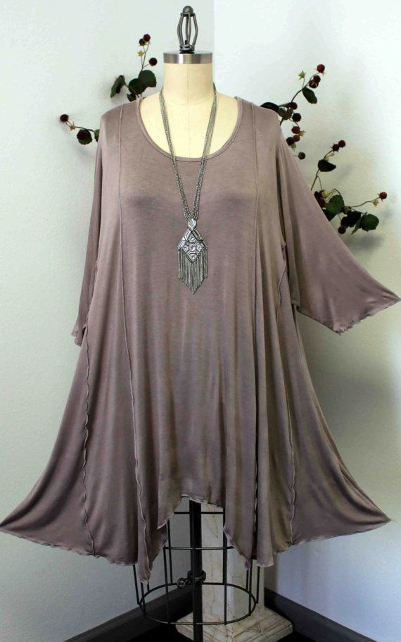Adorable  Lagenlook Plus size top, Tunic  in Dark Beige color.  Stylish, Versatile,Soft and Comfortable. Up to 4X