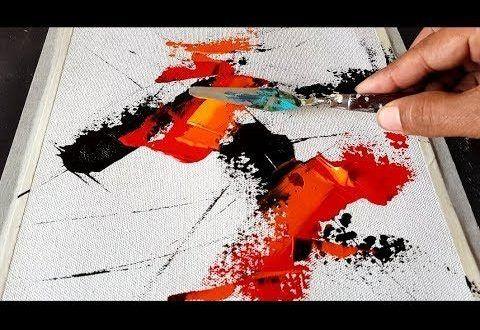 Einfache Abstrakte Malerei Spachtel Und Mischen In Acryl