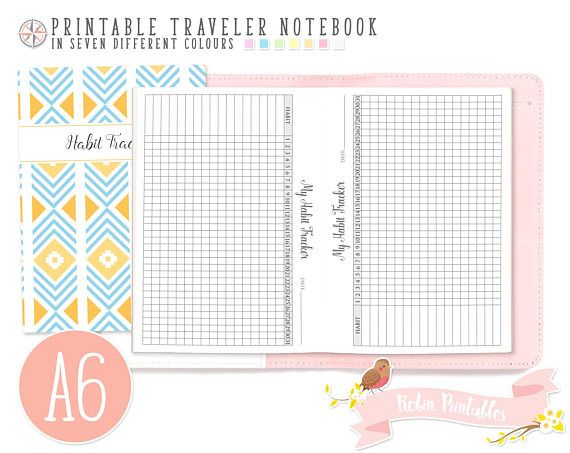 A6 Monthly Habit Tracker Traveler Notebook Refill 4 x 6 Printable - notebook paper download