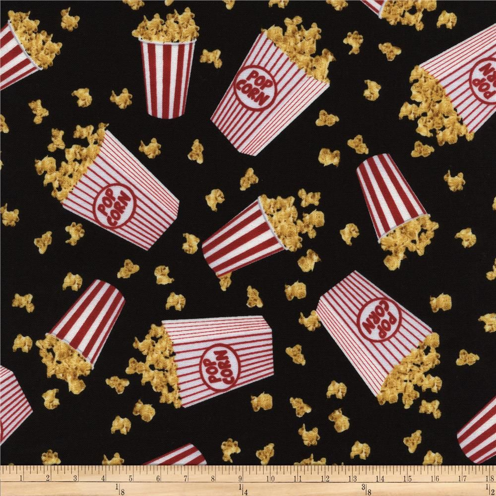 Timless Treasures Movies Popcorn Black from @fabricdotcom Designed for Timeless Treasures, this cotton print fabric is perfect for quilting, apparel and home decor accents. Colors include red, white, gold and black.
