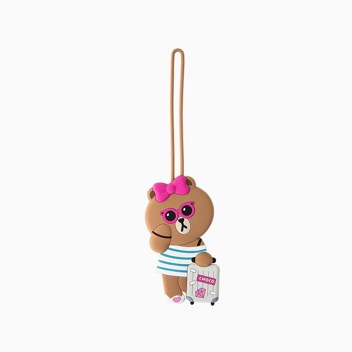 6dd40e8c5 LINE FRIENDS Character Silicon Luggage Name Tag SUNGLASSES CHOCO Bear # LINEFRIENDS