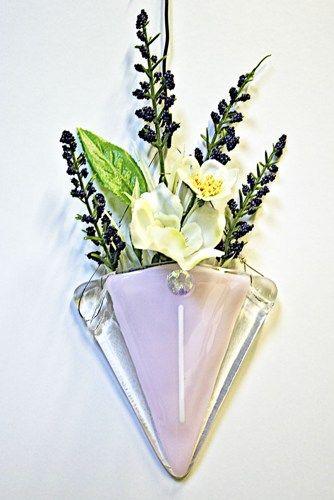 Fused Glass Wall Pocket Vase Art Deco Design Glass Fused Dicro