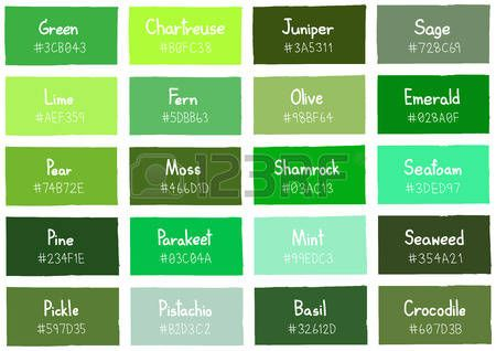 Green Tone Color Shade Background With Code And Name Ilration