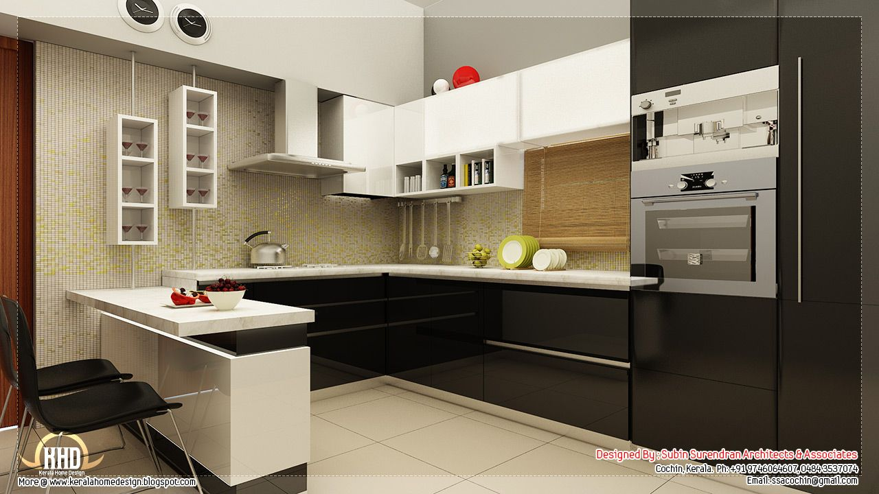 Beautiful home interior designs kerala home design floor for Kitchen interior design images