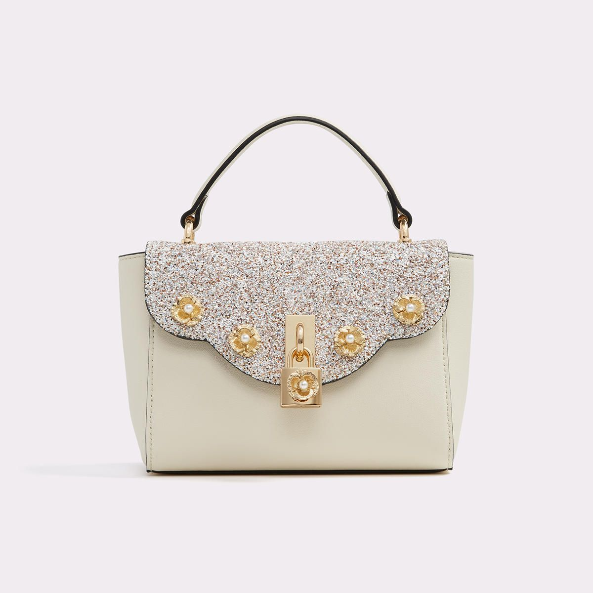 61964ed5957 Badesse Get a handle on style and top off your outfit with this scalloped  top-handle satchel. Topped with pearl charms and dashing gold hardware.