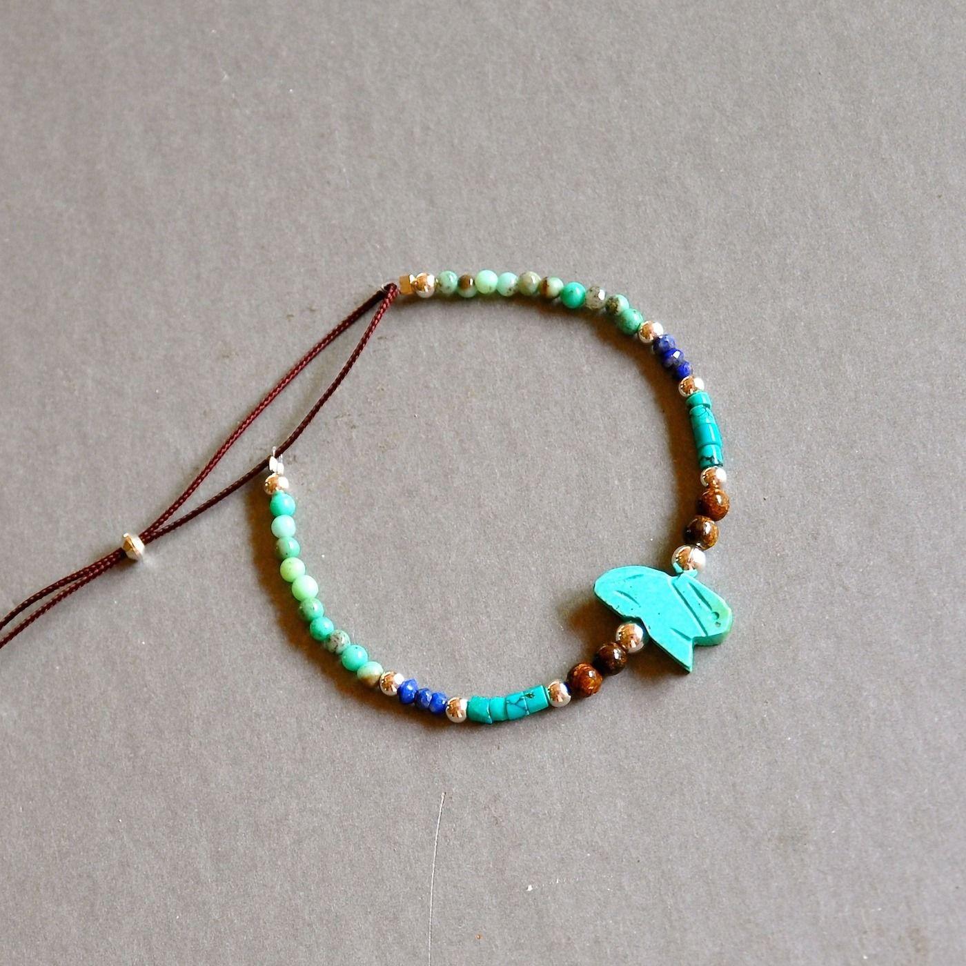 """Bracelet fantaisie pierres fines bleues et perles argent 925 : Modèle """"Ignès"""" : Bracelet par kanakeis"""