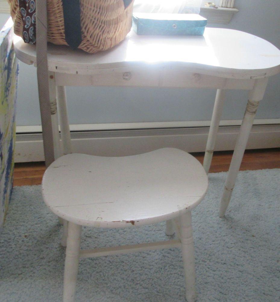 Antique vintage kidney shaped vanity dressing table desk with antique vintage kidney shaped vanity dressing table desk with stool free pick up geotapseo Gallery
