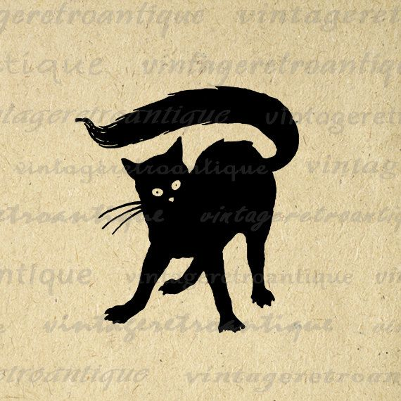Cat Printable Graphic Black Image Halloween Digital Download Antique