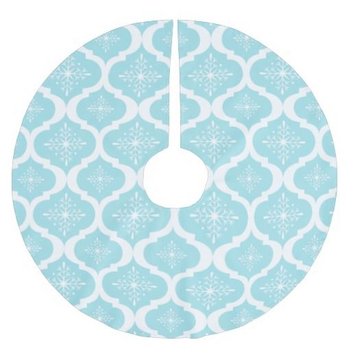 Aqua Christmas Tree Skirt: Christmas Aqua Blue Snowflakes Lattice Pattern Brushed