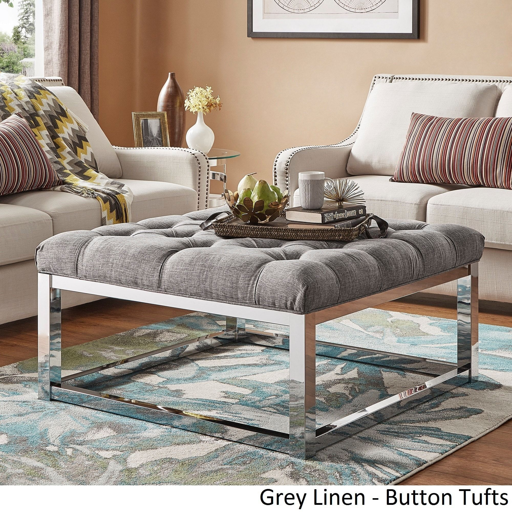 Solene Square Base Ottoman Coffee Table - Chrome by iNSPIRE Q Bold ([Beige  Linen]- Smooth Top), Size Large