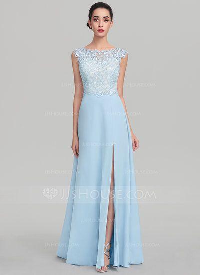 4de97c5c260b [US$ 152.99] A-Line/Princess Scoop Neck Sweep Train Satin Evening Dress  With Split Front