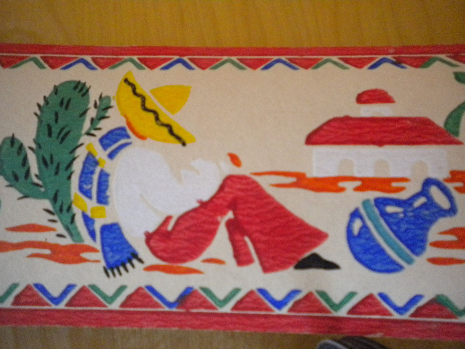 Vintage 1940s Mexican Fiesta Wallpaper Trim Primary Colors 24 Feet 1800 Via Etsy