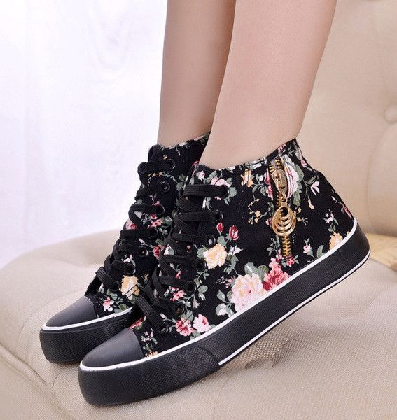 Womens Stylish Zip Floral Casual Shoes