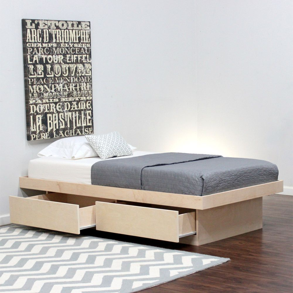 Twin Platform Bed 2 Drawers In Birch Dormitorios Dormitorio
