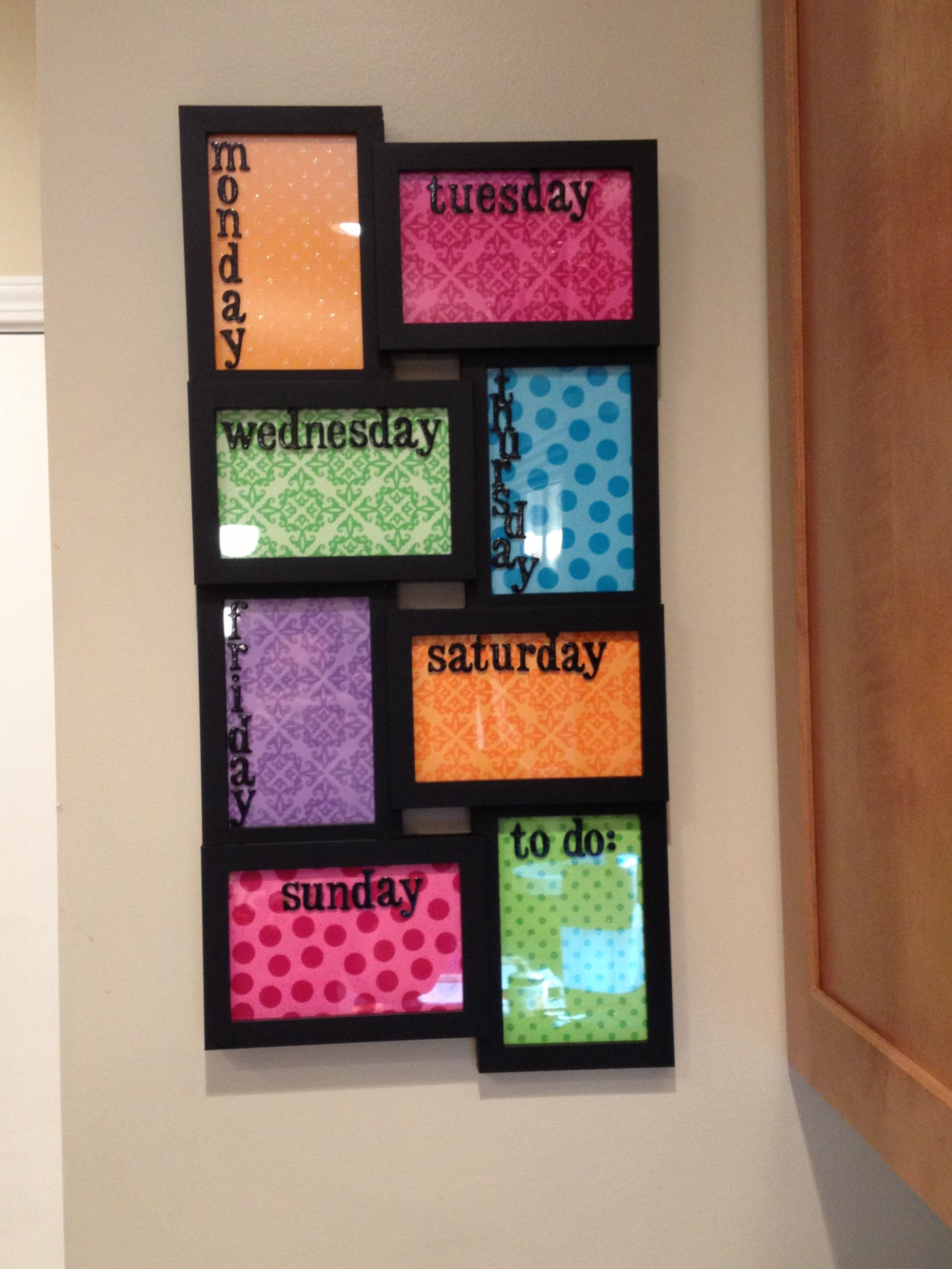 Weekly Calendar Picture Frame You Can Write On Glass And
