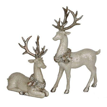 White Reindeer Figurine Tabletop Statue