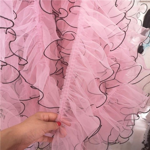 Black Edge Pink Ruffled Organza Lace Trims Prom Girls' Ruffles Edging Trims Couture Gowns Cast Team Black edge pink ruffled organza lace trims prom girls' ruffles edging trims couture gowns cast team Pink Things pink color lyrics
