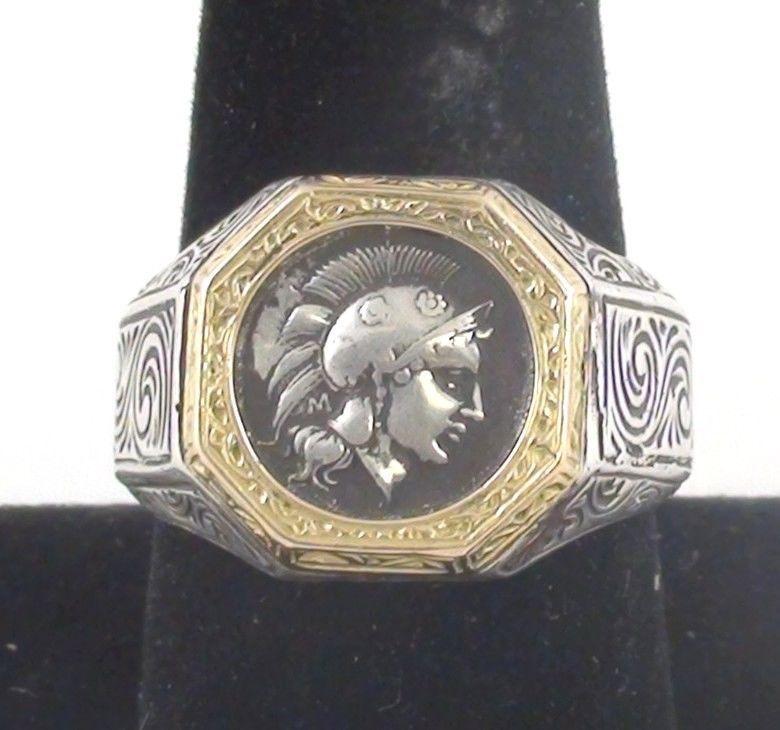 Konstantino Mens Byzantium Sterling Silver & Bronze Coin Ring IbiSbTZMk