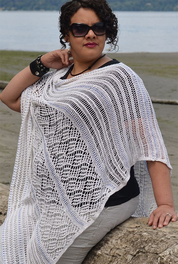Free Knitting Pattern For Cocktails On Mykonos Poncho Lacy Poncho