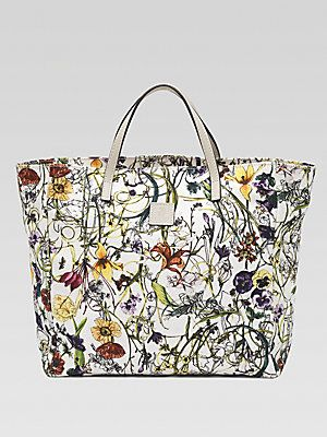 Gucci Girl S Micro Floral Infinity Canvas Tote Printed Canvas