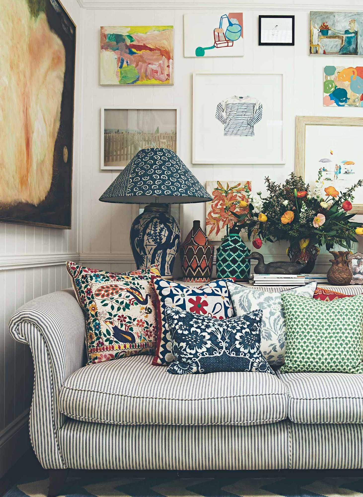 Living Room Mismatched Interesting Cushions Wall Art Couch3 Anna Spiro