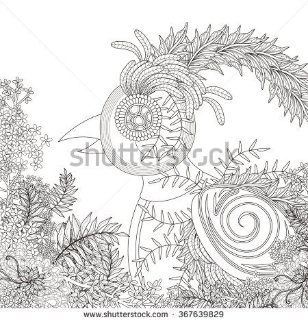 funny bird coloring page with floral elements