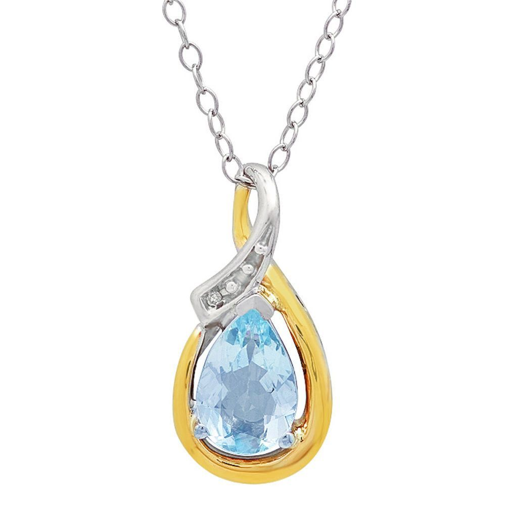 Sterling silver and k gold aquamarine and diamond pendant ct