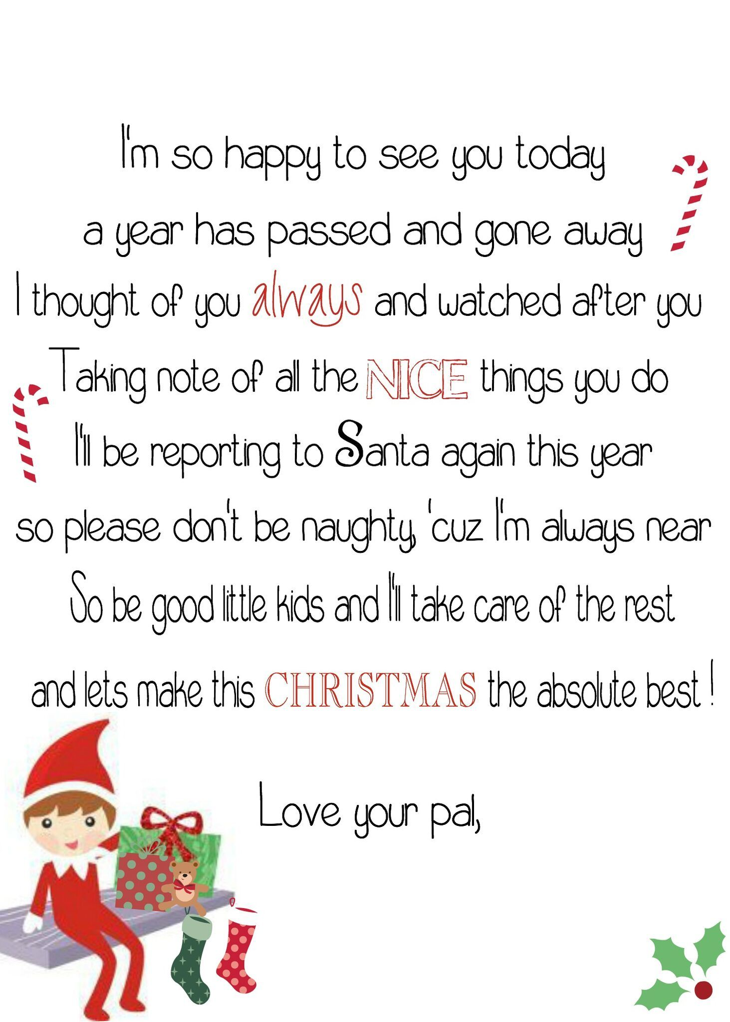 Shared with Dropbox Elf on shelf letter, Elf on the