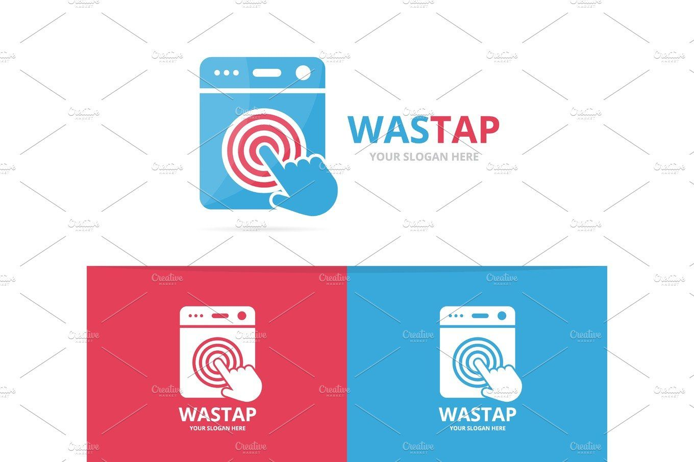 Vector Of Laundry And Click Logo Combination Washing Machine And
