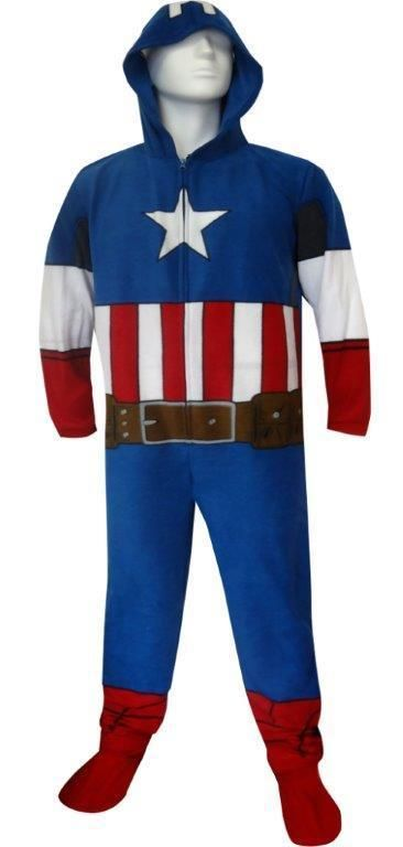 f2fab3627 Marvel Captain America Adult Mens One Piece Footed Footie Pajamas ...