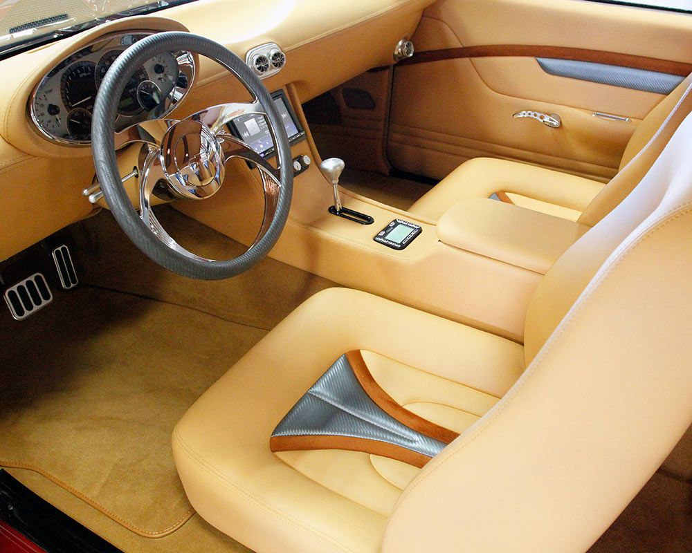 The ride and smell of ray ziglari s powered 1969 chevy camaro is complemented by a sculpted custom leather upholstered interior with modern gauges and