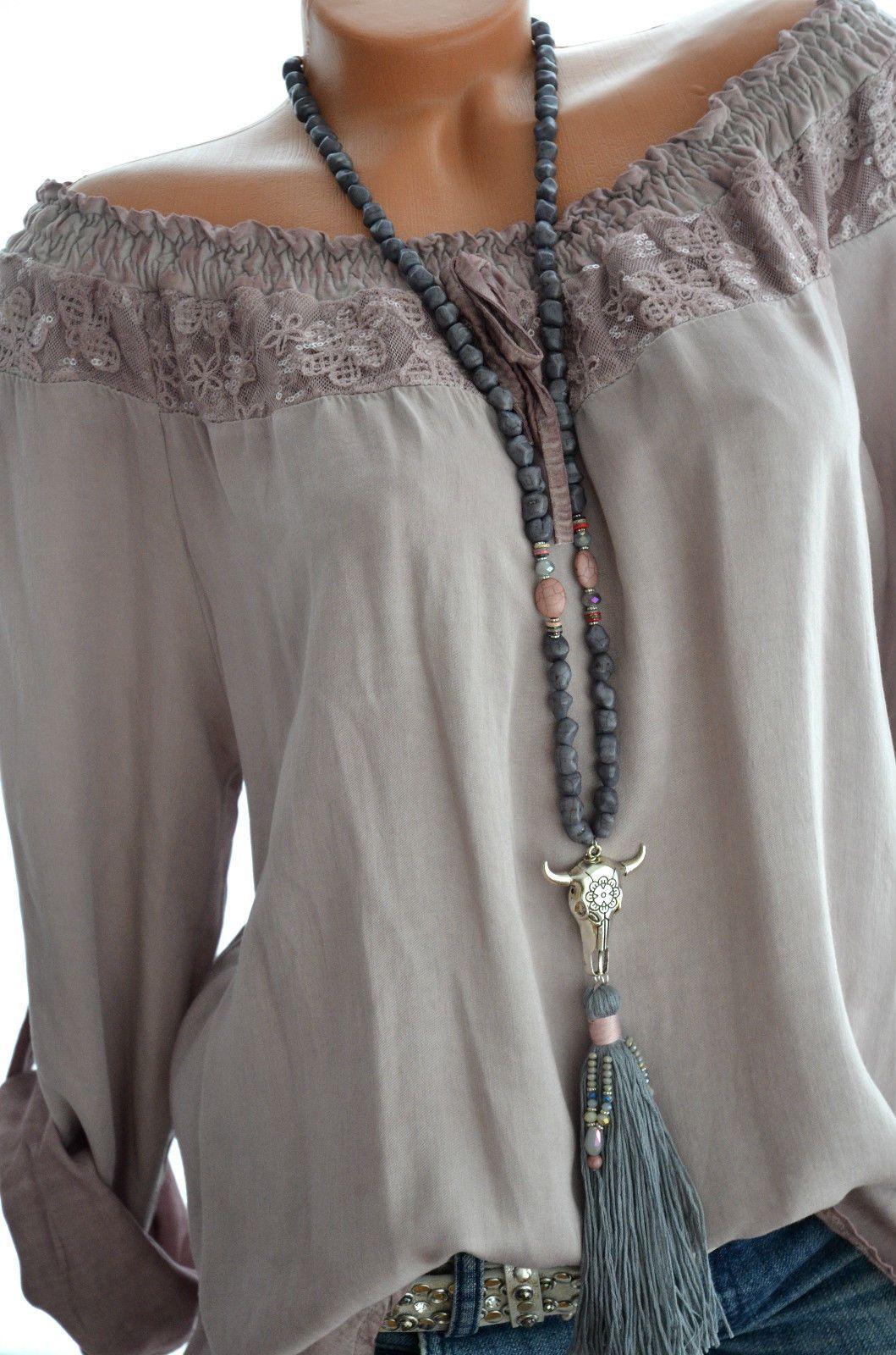 80e5926a5b3aa2 ITALY MODE Carmen Spitze BOHO Tunika Bluse Langarm 36 38 40 42 MAUVE Neu in  Kleidung   Accessoires