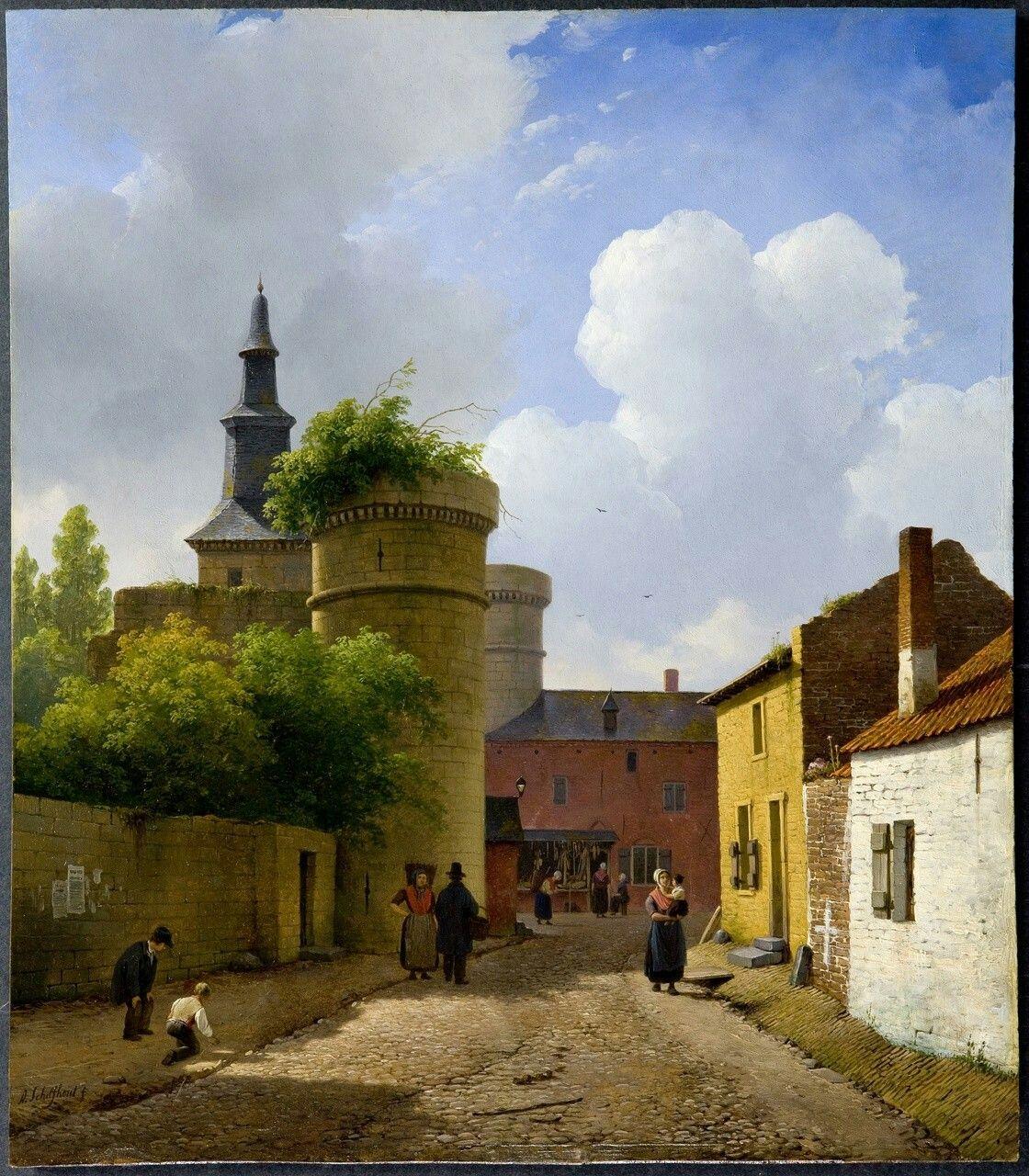 Andreas Schelfhout(1787-1870) - Street in Huy, Belgium c.1825. Oil on panel.