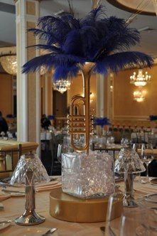 Great Lighted Cube Trumpet Centerpiece With Navy Blue