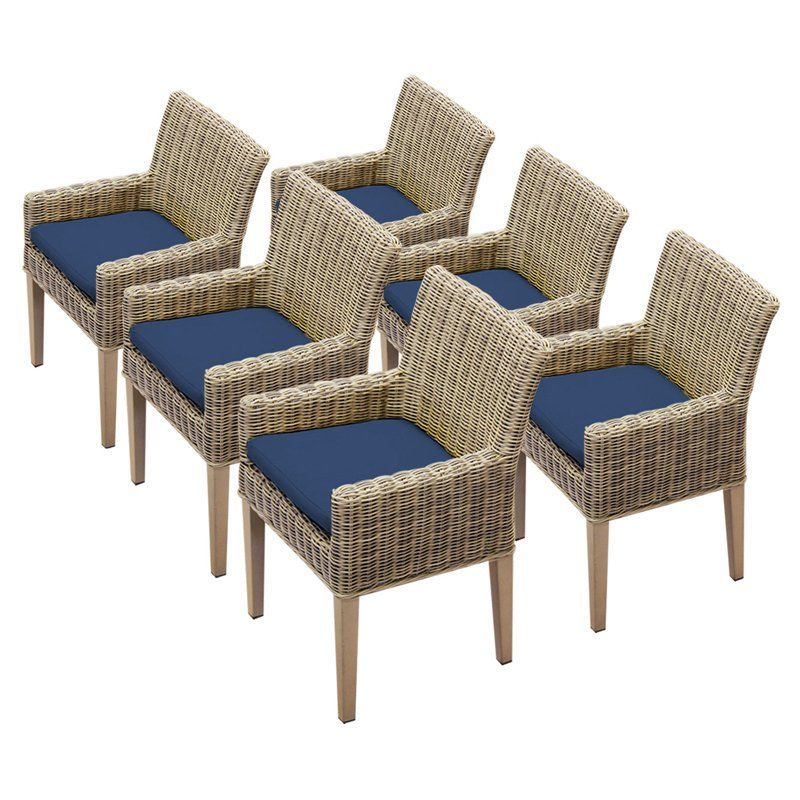 TK Classics Cape Cod Outdoor Dining Chair - Set of 6 with 12 Cushion Covers Navy / Wheat - TKC098B-DC-3X-C-NAVY