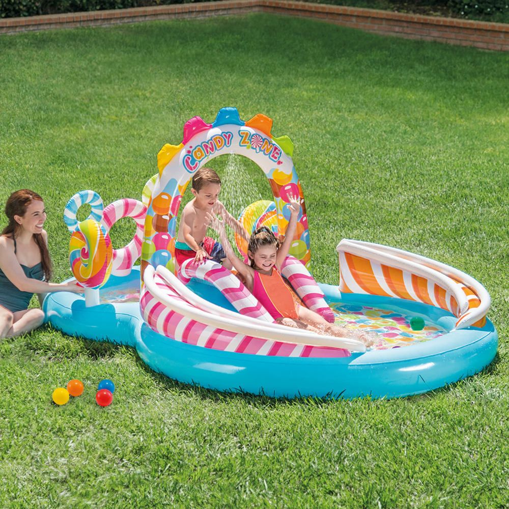 Inflatable Swimming Pool Candy Zone Kiddie Toddler Play Center Outdoor Swim Fun Intex Kiddie Pool Splash Pool Pool Water Slide
