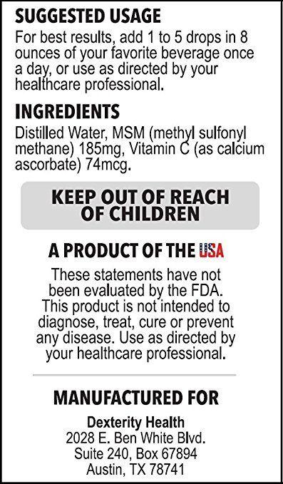 Amazon com: Liquid MSM Drops with Vitamin C, 4oz Bottle, Commonly