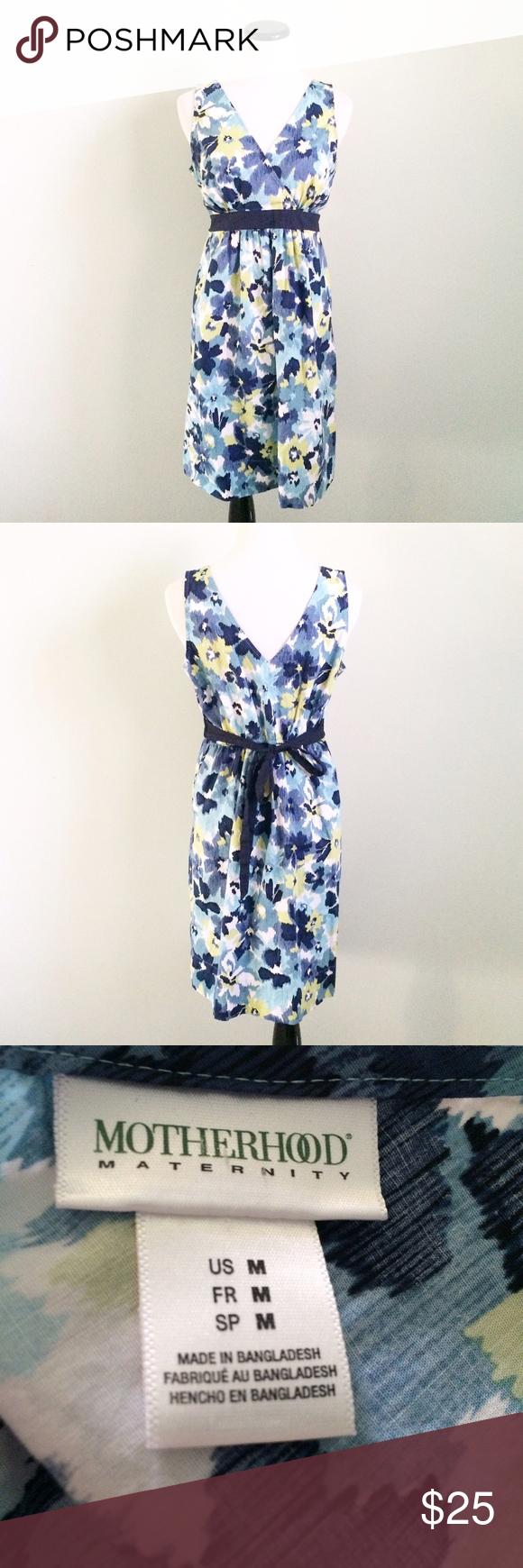 Motherhood maternity blue floral sleeveless dress gently worn and