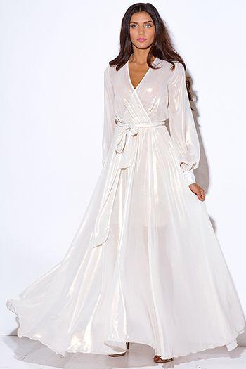 $65 - Cute cheap maxi dress - ivory white metallic chiffon blouson ...