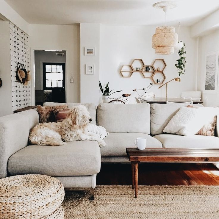 Boho living room neutrals