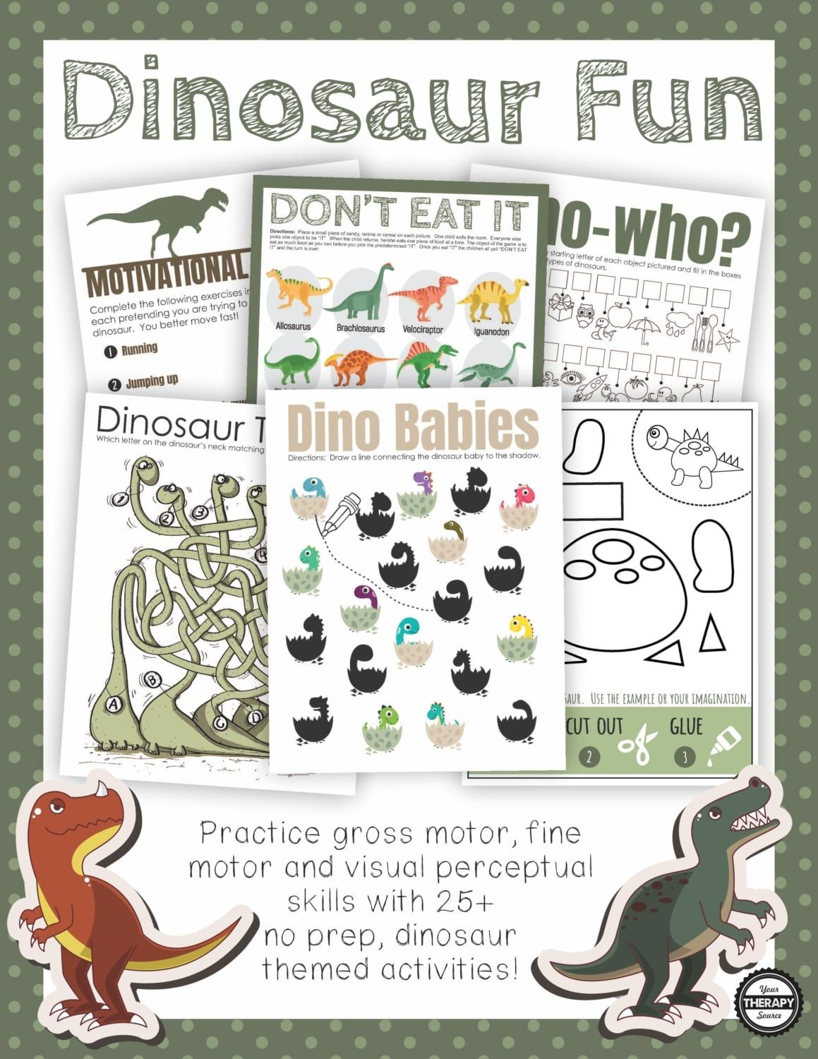 Free Dinosaur Printables To Practice Visual Motor And