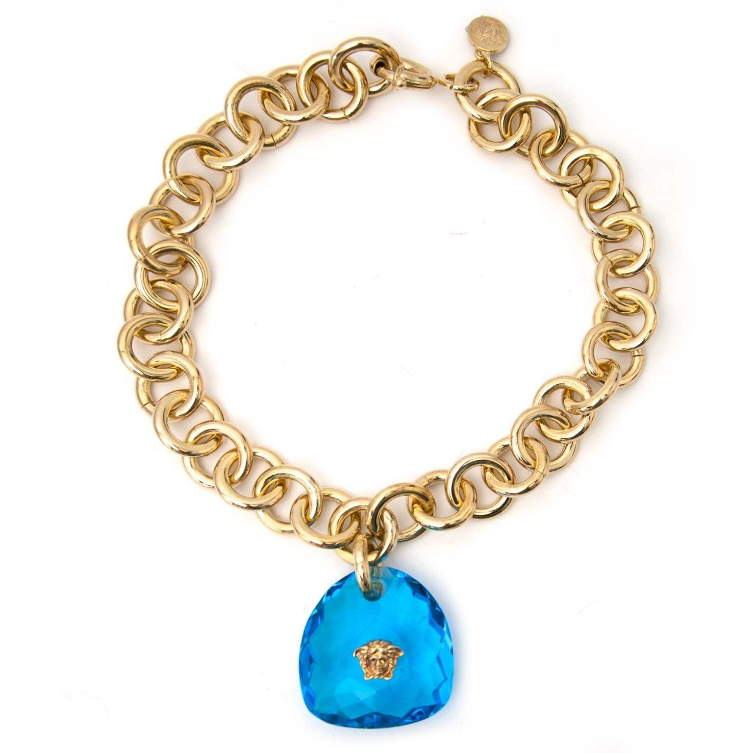 b2184b221706d Versace Gold Chain Blue Stone Medusa Necklace Buy authentic designer ...