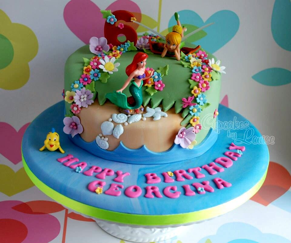 Tinkerbell and Ariel cake