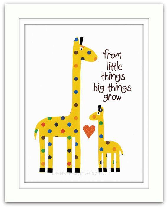 Nursery Art Print, Nursery Giraffes, Kids Room Decor, Nursery Wall ...