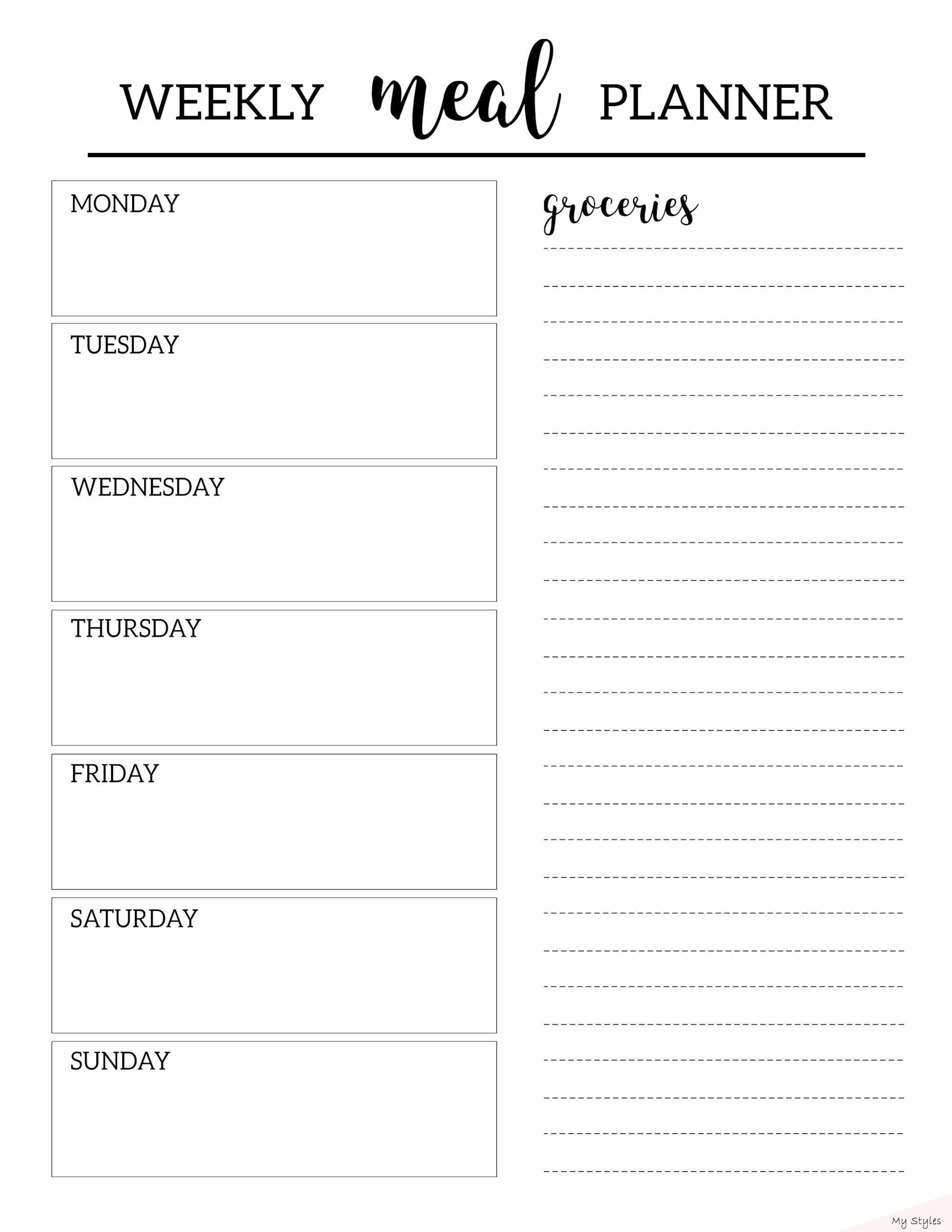 Feb 14 2020 Meal Plan Weekly Template 30
