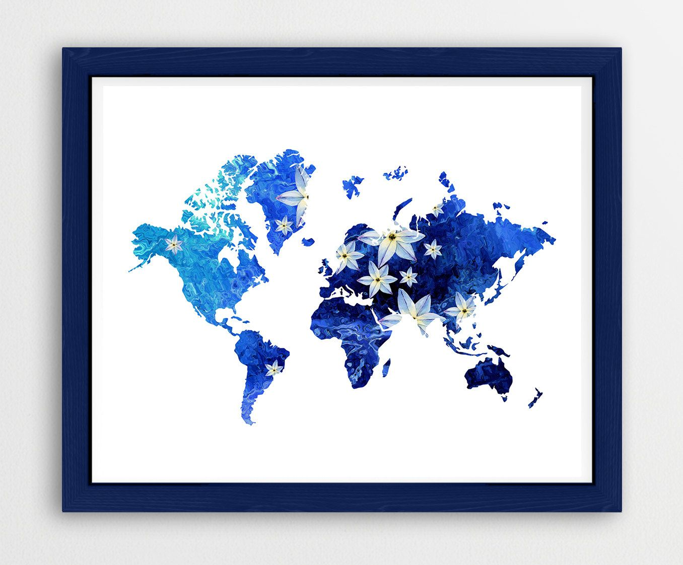 Arizona printable instant download printable state printable flower world map blue printable wall art world map print world map poster gumiabroncs Gallery