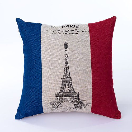 Decorative Pillows Eiffel Tower : Ojia 18 X 18 Inch Cotton Linen Decorative Throw Pillow Cover Cushion Case, Eiffel Tower and Flag ...