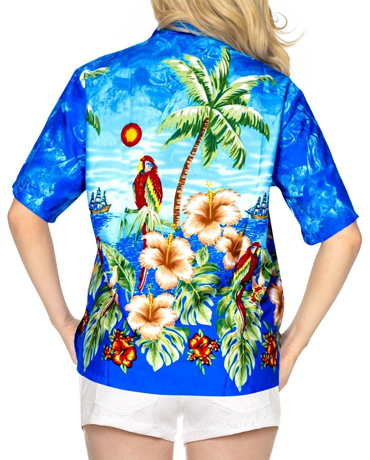 4a1ebe6427 Women Hawaiian Shirt Blouses Beach Top Tank Casual Aloha Holiday ...